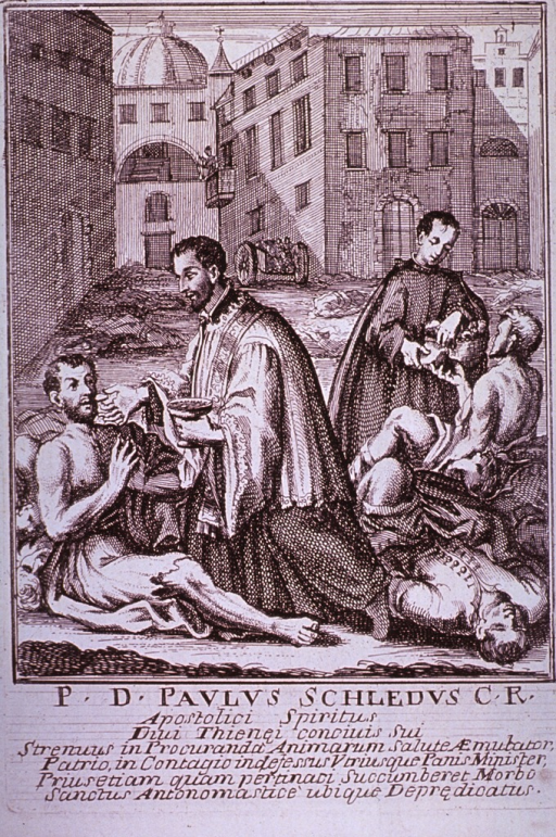 <p>Plague broadsides: Engravings attached to memorials for priests who died tending plague victims throughout Italy. Shows priests administering the Sacrament of Communion to dying plague victims.</p>