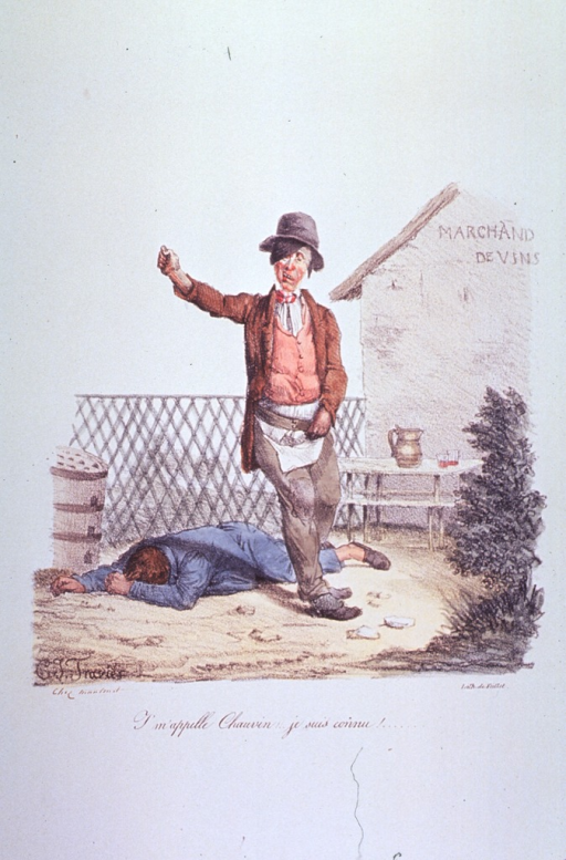 <p>One man face-down on the ground and another man in an unsteady stance as he staggers forward, his right arm raised as though to lean against something for support.</p>