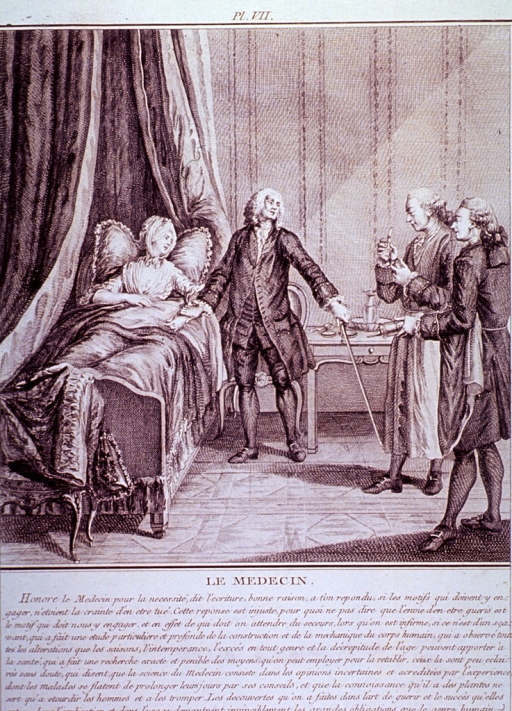 <p>A physician takes the pulse of a sick woman in bed while a surgeon with a bloodletting knife and a pharmacist with a clyster await his instructions.</p>