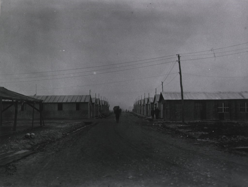 <p>View of the wards, looking south at the U.S. Army Camp Hospital no. 11, St. Nazaire, France during World War I.</p>
