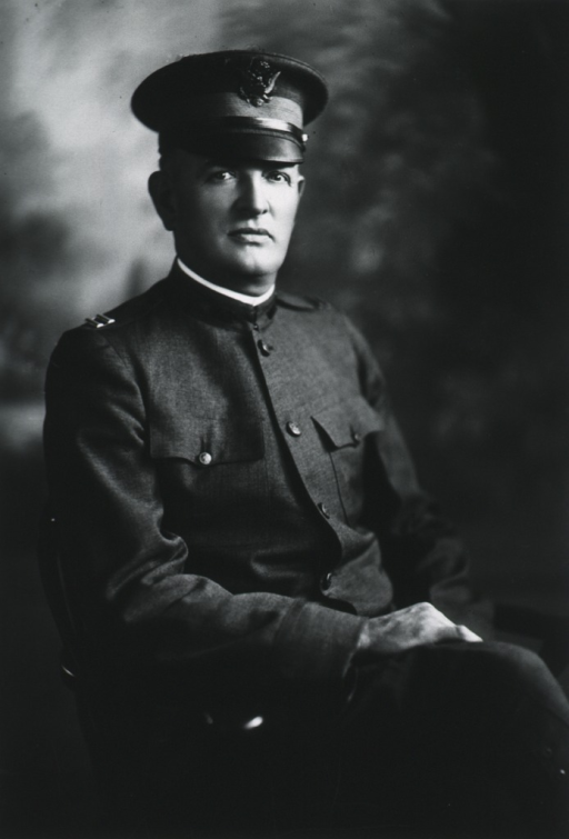 <p>Seated, three quarter length, right pose, hands on knee; in uniform of Captain.</p>