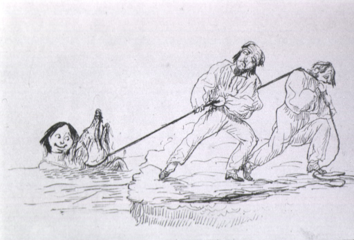 <p>Two men use a rope to pull an animal and a boy (?) from a body of water.</p>