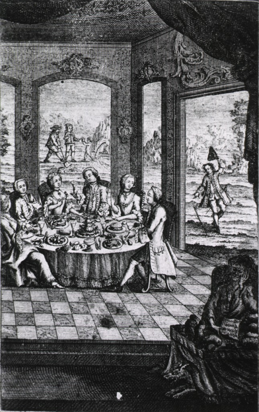 <p>Interior view of a room with large windows; seated around a large lavishly spread table are several men and women; in the foreground a woman is sitting alone at a table under which is a fierce looking dog; visible through a window is a man stumbling.</p>