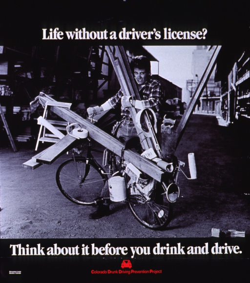 <p>Predominantly black and white poster with white and red lettering.  Initial title words at top of poster.  Visual image is a reproduction of a b&amp;w photo showing a construction worker attempting to load various supplies on a bicycle.  Remaining title words below photo.  Publisher information and logo at bottom of poster.</p>