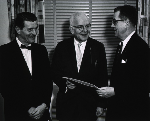 <p>Showing Dr. Christian B. Anfinsen and Dr. John T. Edsall with Dr. James Shannon.</p>