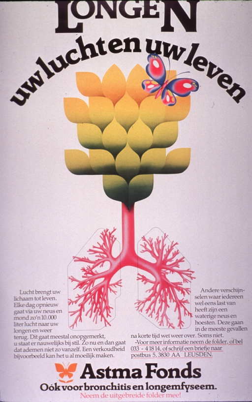 <p>Predominantly white poster with black and pink lettering.  Title at top of poster.  Visual image is an illustration of an abstract flower or tree, the trunk and roots of which are represented by bronchial tubes and bronchioles.  Significant amount of text on poster appears to discuss breathing and how breathing can be obstructed.  Publisher information at bottom of poster.</p>