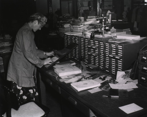 <p>Interior view: Edith Spaeth is checking-in a serial using the kardex next to a card catalog;.  In the background materials are piled on table tops.</p>