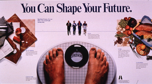 <p>Predominantly white poster with blue and black lettering.  Title at top of poster.  Caption below title.  Visual images are color photo reproductions depicting medications, people exercising, an array of healthy foods, and the feet of someone standing on a scale.  Text accompanying the photos describes the importance of each concept in managing high blood pressure.  Publisher information in lower right corner.</p>