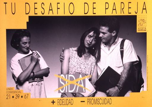 <p>Predominantly yellow poster with black and white lettering.  Title at top of poster.  Visual image is a b&amp;w photo reproduction featuring a man and two women.  The man has his arm around one woman.  He looks toward the other woman however, as she looks at him with a flirtatious smile.  Note text in upper right corner.  Caption text at bottom of poster implies that avoiding AIDS requires more fidelity and less promiscuity.</p>