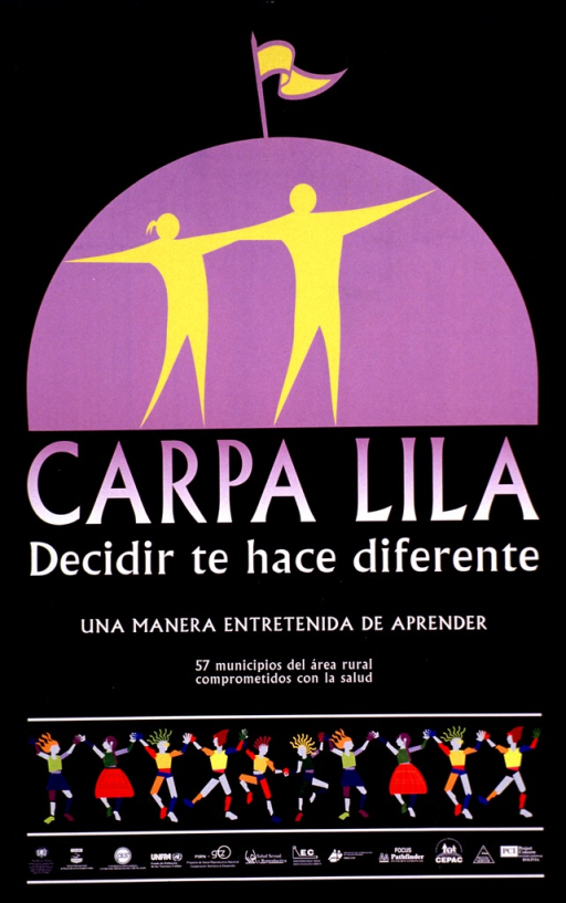 <p>Predominantly black poster with lilac and white lettering.  Visual images are abstract human figures holding hands and dancing.  Two figures at top of poster superimposed on a lilac tent.  Title below tent.  Note below title indicates that the event is an entertaining way to learn.  Additional dancing figures below text.  Publisher and sponsor information at bottom of poster.</p>