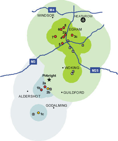 The geographical area affected by FMD outbreaks in 2007.The location of premises and holdings are shown (red circles, clinical signs confirmed by laboratory analysis; yellow circles, FMDV detected using laboratory assays in the absence of clinical disease; and ⊗, additional holdings associated with FMD infected premises with no evidence of infection). The shaded areas denote the extent of the 5km protection zones and 10 km surveillance zones established (blue and green representing outbreaks in August and September respectively). The map also shows major towns and motorways in the region and the location of the Pirbright site (star).