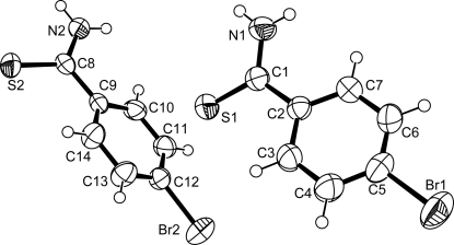 Molecular structure of 4-bromobenzothioamide showing displacement ellipsoids at the 50% probability level (for non-H atoms).
