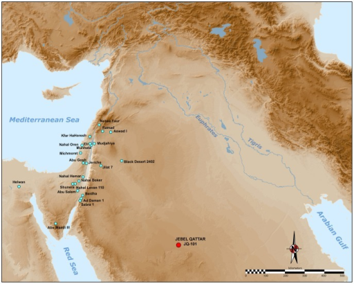 "Map of the Levantine sites with Helwan points.It shows the Abu Salem points sub-type, based on maps in Kozlowski and Aurenche [73]. JQ-101 lays more than 500 km from the ""core area""."