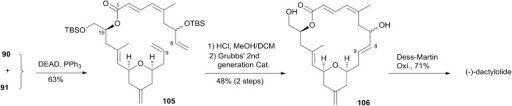 McLeod's total synthesis of (–)-dactylolide.