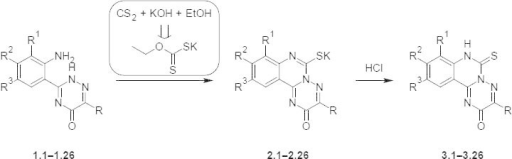 Synthesis of the potassium 3-R-8-R1-9-R2-10-R3-2-oxo-2H-[1, 2, 4]triazino[2, 3-c]-quinazoline-6-thiolates 2.1–2.26 and 3-R-8-R1-9-R2-10-R3-6-thioxo-6,7-dihydro-2H-[1, 2, 4]triazino[2, 3-c]quinazolin-2-ones 3.1–3.26
