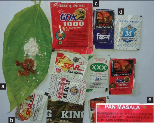 Chewing products involved in Oral submucus fibrosis (OSF). Conventional betel quid (a) and commercial chewing products with tobacco, (b) now banned, without tobacco, (c) Commercial products contain more areca nut per chew. Note, separately available tobacco products, (d) that can be combined with conventional quid or other tobacco less products inset, (e) shows tobacco less products containing betel nuts, catechu and lime involved in OSF