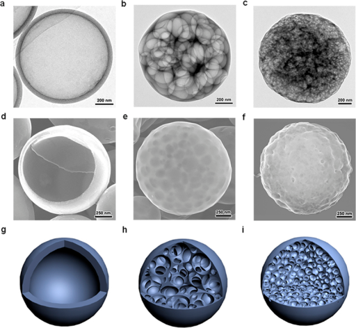 Carbon nanospheres with different pore structures.(a–c) TEM images and (d–f) SEM images of carbon spheres studied in this work, and their corresponding schematic illustrations (g–i).