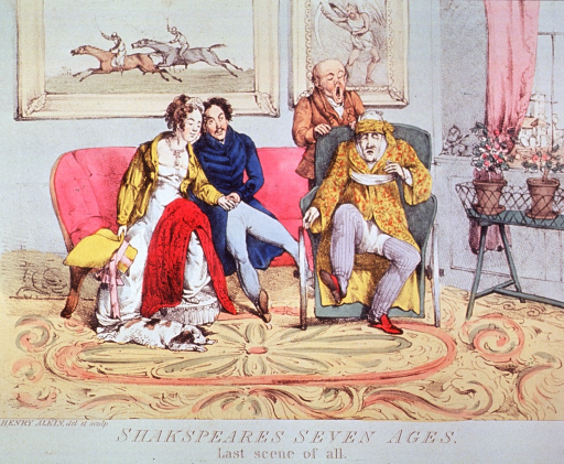 <p>In a parlor setting an old man strapped into a wheelchair is struggling with sleep; his attendant stands behind the chair yawning. A young couple, sitting on a sofa with their heads together, are falling asleep. A dog is asleep on the floor.</p>