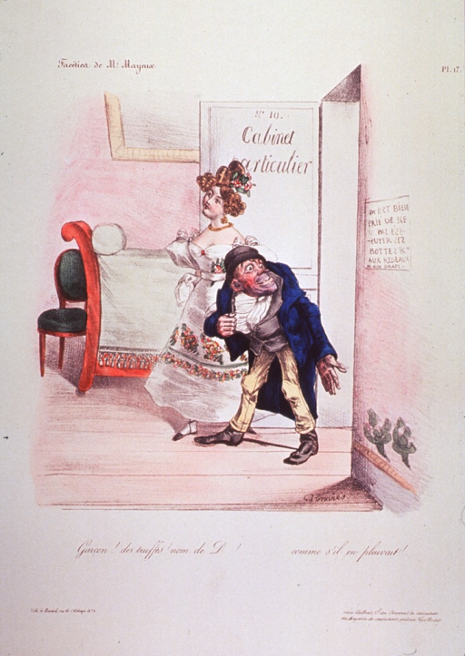 <p>A woman and a man entering a restaurant.</p>