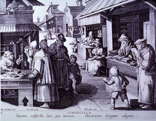 <p>Exterior view: market scene; to the left is a man selling spectacles; to the right is a bookseller and a shoe maker; several people, including most of the craftsman, are wearing spectacles.</p>