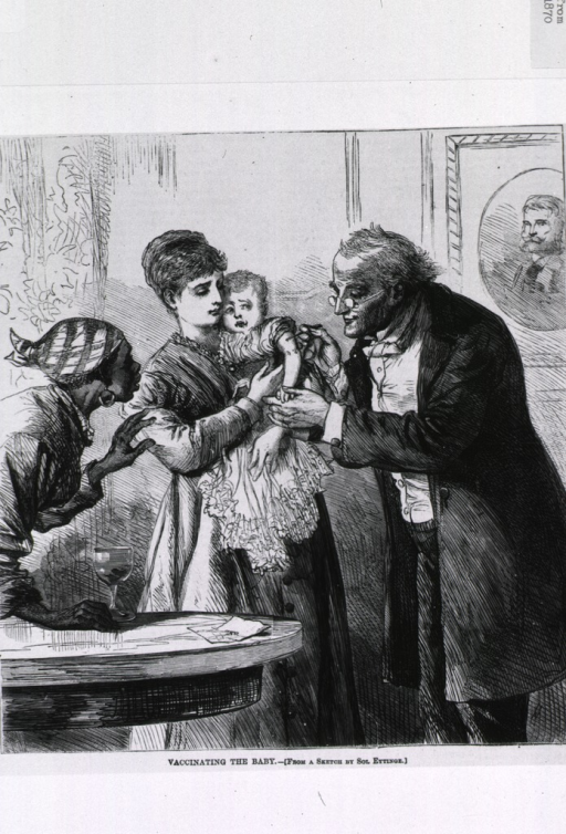<p>Vaccinating the baby (mother holds child while doctor vaccinates; maid watches with apprehension).</p>