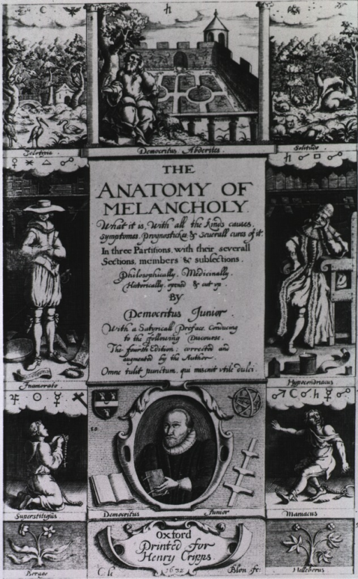 <p>Title page with several vignettes, most are labeled with specific disorder and assigned corresponding astrological symbols.</p>
