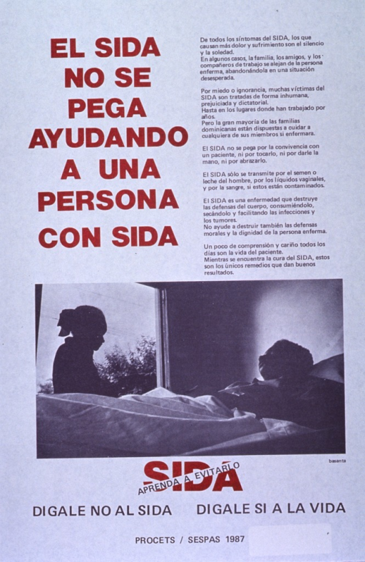 <p>White poster with brown and black lettering.  Title in upper left corner.  Lengthy caption in upper right corner discusses the loneliness that often accompanies AIDS due to prejudice and misinformation about transmission.  Visual image is a reproduction of a b&amp;w photo showing a women sitting at a patient's bedside.  Note and publisher information below photo.</p>
