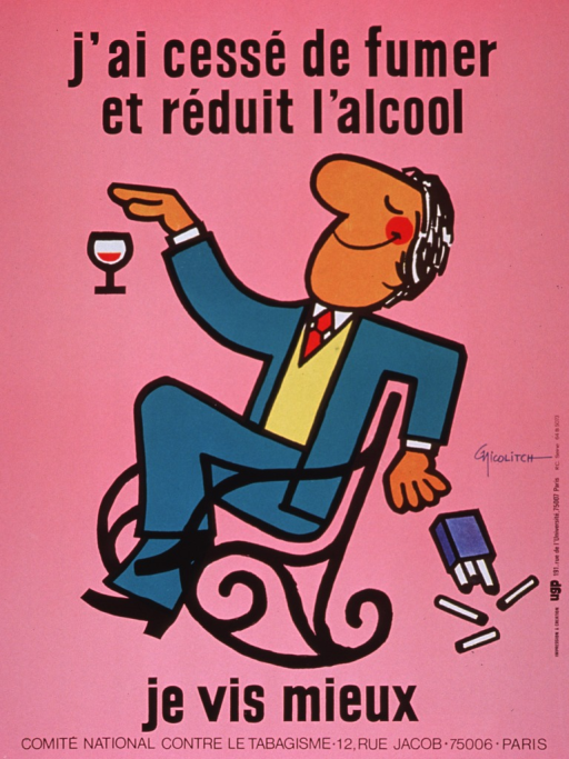 <p>Predominantly pink poster with black lettering.  Title at top of poster.  Visual image is an illustration of a man sitting in a rocking chair.  One hand covers a half-filled glass of wine, a gesture suggestive of having enough or wanting no more.  A pack of cigarettes tumbles out of his other hand and spills its contents.  Caption below illustration indicates that the man lives better.  Publisher information at bottom of poster.</p>