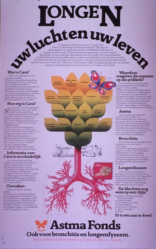 <p>Predominantly white poster with black and pink lettering.  Title at top of poster.  Visual image is a slightly abstract illustration of a tree, the trunk and roots of which are represented by bronchial tubes and bronchioles.  Different factors that can disrupt breathing are noted on the leaves of the tree (e.g., coughing, fibers, temperature change, medicines, smoking, etc.).  Significant amount of text on poster discusses chronic non-specific lung diseases, known in Dutch by the acronym CARA.  Asthma, bronchitis and pulmonary emphysema are specifically listed.  Publisher information at bottom of poster.</p>