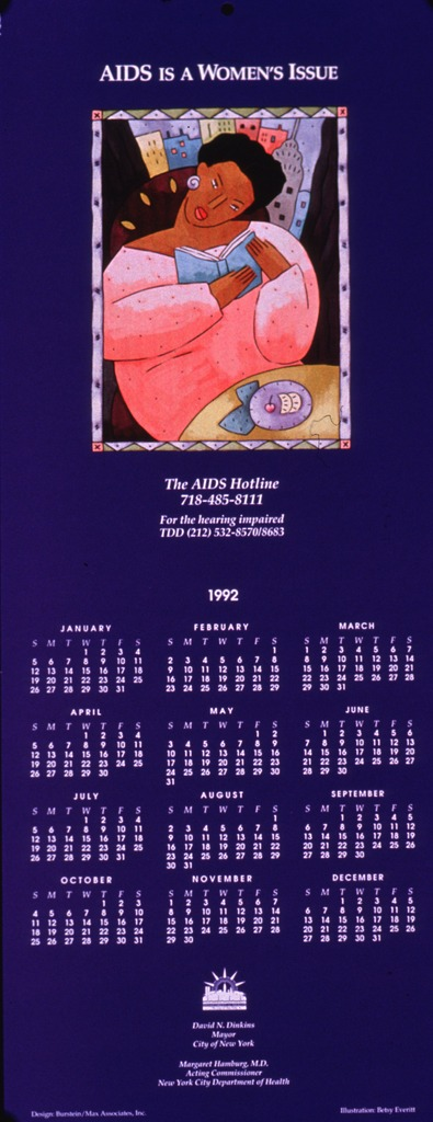 <p>Predominantly purple poster with white lettering.  Title at top of poster.  Visual image is a slightly abstract illustration of a seated woman reading a book.  AIDS hotline number below illustration.  1992 calendar and publisher information in lower portion of poster.</p>