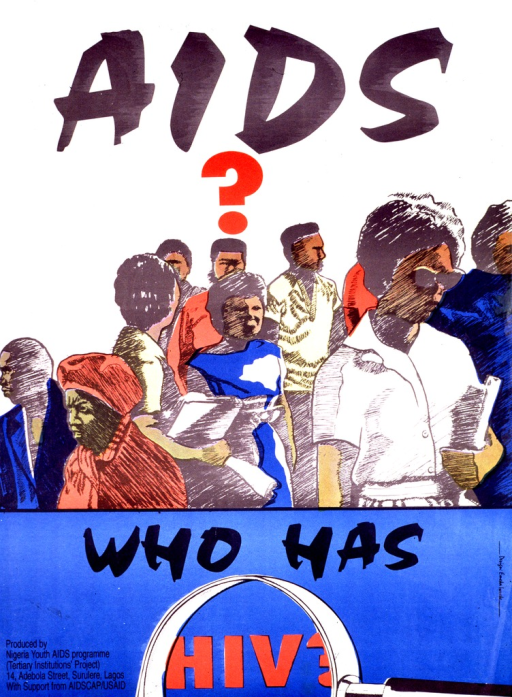 <p>Predominantly white and blue poster with black and red lettering.  Initial title phrase at top of poster.  Visual image is an illustration of a group of people, like a crowd on a street.  Remaining title text below illustration.  There is also an illustration of a magnifying glass in the lower part of the poster.  Publisher and sponsor information in lower left corner.</p>