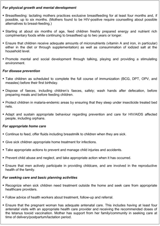 List Of Key Family Practices For Ensuring Child Surviva Open I