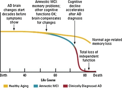 Change over time from healthy aging to Alzheimer's disease (AD). Some people's course entails gradually moving to mild cognitive impairment and then possibly making the transition to AD. Other people continue on a course of healthy aging, showing only normal age-related changes in cognition. Figure from National Institute on Aging (2008, p. 29)