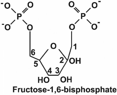 schematic diagram of the chemical structure of fructose 16 bisphosphate fbp