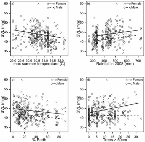 Regression analysis of Morethia boulengeri and candidate variables.The relationships show a positive association with snout-vent length (SVL) and: (a) temperature, (b) rainfall (c) percent bare ground cover, and (d) density of mature trees >50 cm diameter.