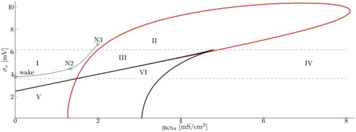 Bifurcation diagram of the cortex with respect to  and .Overview over the models dynamic regimes, obtained via numerical bifurcation analysis of the cortex with respect to  and . Hopf bifurcations are drawn in red, while the black line depicts saddle-node bifurcations. The bottom gray line marks the intersection of Hopf and saddle curves, the top gray line the cusp bifurcation. The green line depicts the proposed route for the transition from wake to sleep stage N3. The region around wake corresponds to parameter settings commonly used for wake EEG. N2 and N3 are settings used within this study for the respective sleep stages, as given in Table 2 and 3. Regions I-VI are described in the text and Table 1 (Parameters as in Table S1).