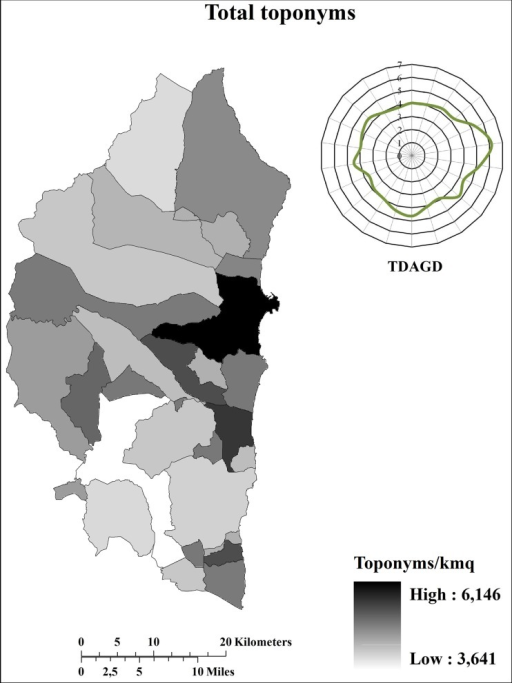 Distribution (toponyms/km2) of total toponyms.TDAGD = Toponym distribution (toponyms/km2) along the geographical directions. The graphic representation of the TDAGD was achieved by positioning the centre of the graphic over the municipality of Elini, representing the geographic centre of Ogliastra.