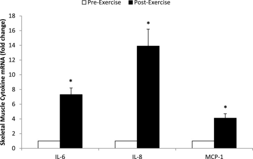 Fold change in skeletal muscle mRNA expression for IL-6, IL-8, and MCP-1 in N = 24 runners. *P < 0.001, change pre- to post-exercise.
