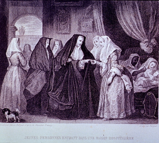 <p>Interior view: A group of women are visiting a local hospital; to the right is a mother with a baby.</p>