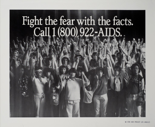 <p>Poster is a reproduction of a b&amp;w photo.  Photo shows very large group of people, hands joined and arms upraised.  Title at top of photo.  Hotline number appears directly below title.</p>