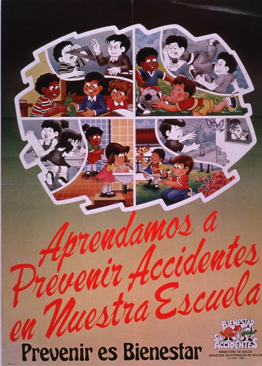 <p>Predominantly green and tan poster with multicolor lettering.  Visual images are illustrations contrasting dangerous and safe behavior in four settings, including handling sharp objects in the classroom, running, using water in the bathroom, and dealing with animals.  Title below illustrations; caption below title.  Caption states that prevention is well being.  Publisher information in lower right corner.</p>