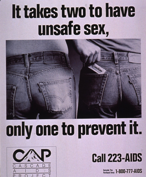<p>Black and white poster showing the back pockets of a two people's jeans. One person is removing the condom from the pocket of the other person. The publishing information and logo are at the bottom of the poster.</p>
