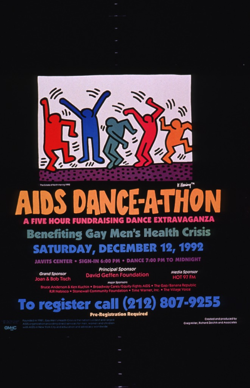 <p>Predominantly black poster with multicolor lettering.  Visual image is an illustration of five abstract human figures dancing.  Title below illustration; note below title.  Additional text on poster provides event details, including sponsors.  Publisher information in lower left corner.</p>