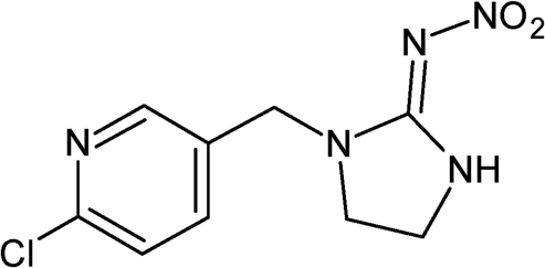 Chemical structure of imidacloprid.