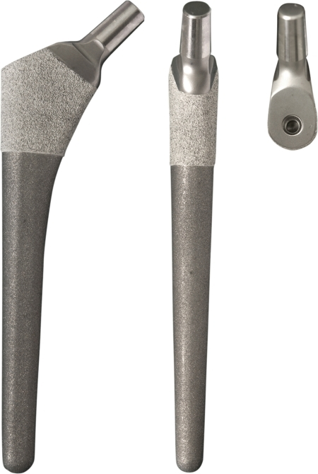 The proximally hydroxyapatite-coated Bi-Metric modular femoral stem. The prosthesis is tapered in 3 dimensions.