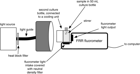 Schematic drawing of the FRRF experimental set-up. A 50   Open-i on camera schematic, geiger counter schematic, microscope schematic, voltmeter schematic, oven schematic, ph meter schematic, spectrum analyzer schematic, dissolved oxygen sensor schematic, gc schematic, laser schematic, varian cary eclipse fluorimeter schematic, hplc schematic,
