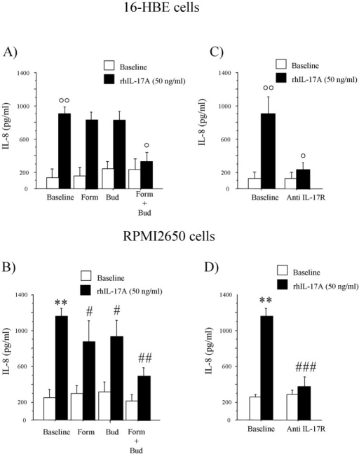 rhIL-17A induced IL-8 release from epithelial cells.16H