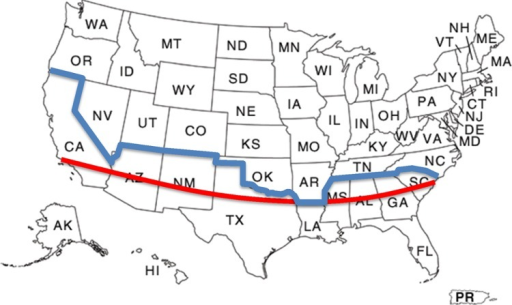 Map of the United States demonstrating the 33rd parallel (red line), which was used to separate the states into warm (south of the 33rd parallel) and cold (north of the 33rd parallel) states; blue line shows the actual state separation into warm (south of the blue line) and cold (north of the blue line).
