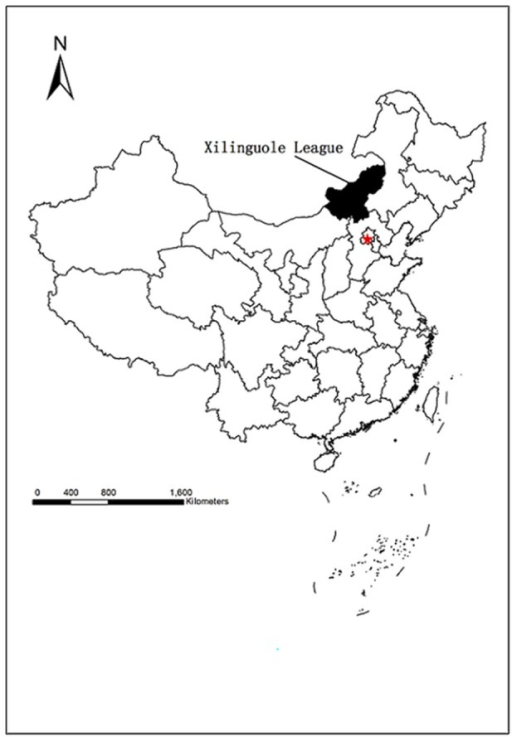 Xilinguole League (highlighted in black) China.