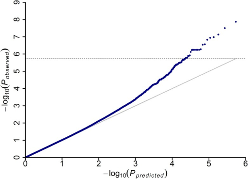 Quantile-quantile plot resulting from the GWAS results for disease severity index of MRDD.